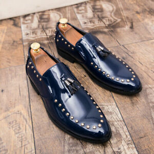 Men Flats shoes Round toe Slip on Rivet Tassels Casual Patent Leather Loafers
