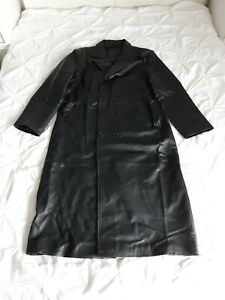 Mens Real Leather Black Long Coat Size XL Immaculate