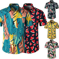 Mens Hawaiian Shirt Summer Beach Holiday Casual T-Shirt Short Sleeve Floral Tops