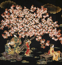 JAPANESE ROBERT KAUFMAN ORIENTAL TRADITION GEISHA BLOSSOMS BLK COTTON PNL FABRIC