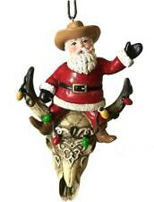 Cowboy Santa Claus on Longhorn Christmas Ornament Decornation fun gift