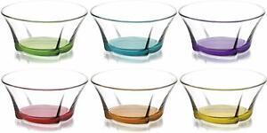 Coloured Base Glass Bowls (Pack of 6) Dessert Dish Ice Cream Sundae Fruit Trifle