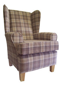 Fireside Wing Back Arm Chair  Lana Cream Fabric Wooden Legs