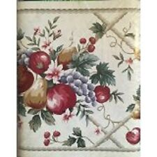 NEW VILLAGE EASY UPS FRUITS WALLPAPER BORDER WALL APPLES PEARS GRAPES CHERRIES