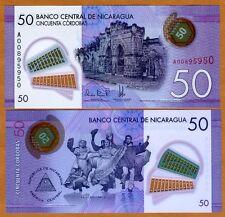 Nicaragua, 50 cordobas, 2014 (2015), Pick New, POLYMER New Design, UNC