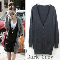 AU SELLER Womens V-Neck Knit Long Cardigan Sweater Basic Coat Top T105