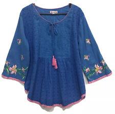 Naudic Top XL Womens Plus Blue Embroidered Long Sl Cotton EUC