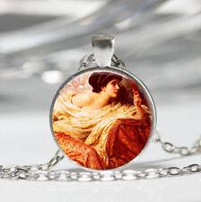 Gazing in Mirror Tibet silver dome Glass Cabochon Necklace chain Pendant #558