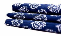 Indigo Blue 1/2.5/5 Yard Floral Print 100% cotton Jaipuri Indian Dress Fabric