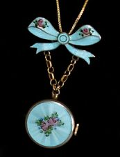 Antique STERLING Aqua ENAMEL GUILLOCHE Hand Painted WATCH Necklace WORKS GREAT!!