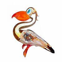 "Glass Pelican Figurine / Handmade Hand Blown Art Glass Pelican Animal 3"""