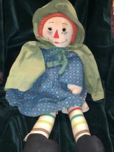 """VTG 20"""" Handmade Raggedy Ann Doll Volland Style Fabric Embroidered Face (5D1)"""