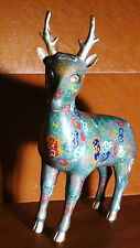 ANTIQUE CHINESE LARGE CLOISONNE MULTICOLOR ENAMEL WITH DRAGONS RAINDEER STATUE
