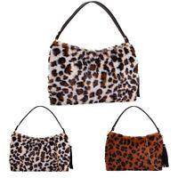 Ladies Faux-Fur Leopard Print Clutch Bag Women Party Fashion Shoulder Handbag UK