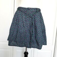 Gap Womens Skirt Aline Pockets Button Closure Pleats Green Leaves Pin Buds Sz 4
