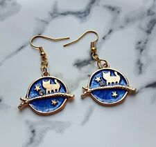Cute fantasy cat navy blue night stars witch earrings golden plated hook jewelry