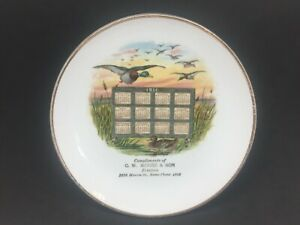 1911 Calendar Plate Compliments C.W Moore & Son Printer Antique Advertising Duck
