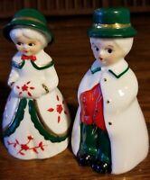 """Vtg Christmas Bell Figurines 3.5"""" Victorian Mr Mrs Boy Girl Porcelain"""