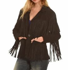 Womens Black Suede Leather Coat Ladies Native American Fringes Western Wear New
