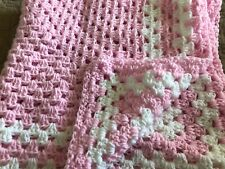 BEAUTIFUL NEW HANDMADE CROCHET BABY BLANKET/AFGHAN - PINK WITH WHITE BORDER