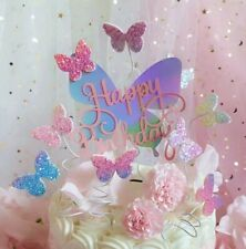 6pcs Happy birthday glitter butterflies cake topper butterfly cupcake toppers