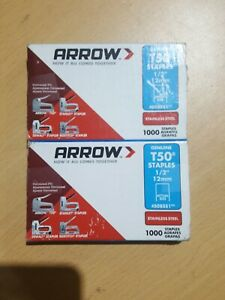 Arrow Genuine T50 1/2-Inch Stainless Staples, 2 Pack of 1000 each, Open box, B2