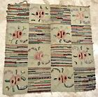 """Antique Handmade Latch Hooked Square Rug Floor Cover Patchwork Cottage 34""""x35"""""""