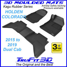 For Holden Colorado Dual Cab 2015 to 2019 - 3D Black Rubber Car Floor Mats