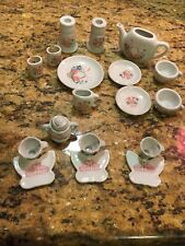 Mixed Lot of Mini Tea Sets White w/Pink Flowers Porcelain and Butterfly saucers