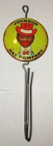 Vintage Johnson Hat Company Advertising Receipt Bill Hook Holder 1940's Rare