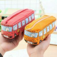 Canvas Bus Pencil Case Large Capacity Pen Box School Stationery Cosmetic Bag Red