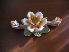 "Ceramic Light Peach 3 Flowered Magnolia Branch 7"" Good Condition See Photos"