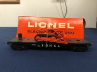 "Lionel Postwar ""Lionel"" BLACK Flat Car w/ Bulldozer 6816 w/ Original Box RARE"
