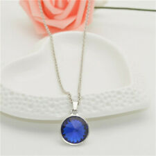 Womens Silver charm Round Crystal Pendant Chain Necklace Birthday jewelry NEW090