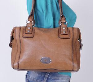 FOSSIL Medium Tan Leather Shoulder Hobo Tote Satchel Purse Bag