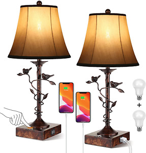 Set of Two Table Lamps for Living Room 3-Way Dimmable Bedside Lamp with USB Port