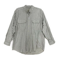 Eddie Bauer Cotton Shirt Mens Sz L Large Green Checked Long Sleeve Button Front