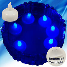 New 24 Blue Led Floating Floral Tea Light Candle for Wedding Centerpiece Decor