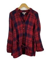 Motherhood Maternity Plaid Large Button Up Long Sleeve Red Blue