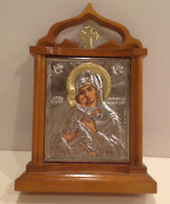 """Russian Siver & Gold Icon Ouar Lady Of Vladimir Kyoto-Stand House 6.5"""" x 6"""""""