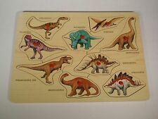 Wooden Dinosaur Peg Puzzle Lights Camera Interaction 9 Pieces Names Shapes Learn