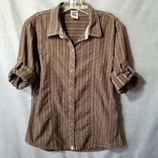 The North Face Shirt Large Brown Snap Front Stripes Western ¾ Roll Tab Sleeves