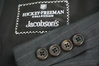Hickey Freeman Canterbury Gray Pinstriped 100% Wool 2 Pc Suit Jacket Pants 43R