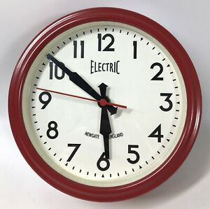 """Iconic Newgate ELECTRIC Wall Clock 50s Retro Style Red 8.5"""" England"""