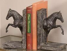 """8.7"""" Horse Design Set of Bookends - Antiqued Bronze Finish Polyresin NEW"""