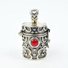 925 Sterling Silver Red Coral Ornate Cylinder Prayer Box Locket Charm Pendant