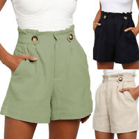 Women's Summer Shorts Wild Casual High Waist Loose Cotton Linen Wide Leg Pants