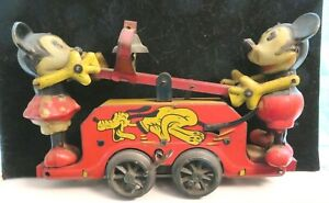 "RARE Mickey & Minnie Mouse O Gauge 7"" Wind-Up Handcar Made In England by Wells"