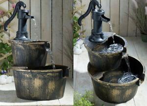 "New CASCADE Solar Two-Tier Barrel Water Fountain. Stylish Garden 67.3cm/26.49"""