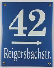 Emaille Münchener Hausnummernschild mit Wunschzahl / Text 25x20 cm Hausnummer